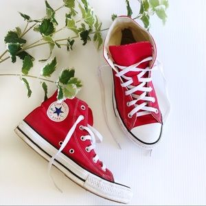 High Top Converse Sneakers Red Mens 6 Womens 8